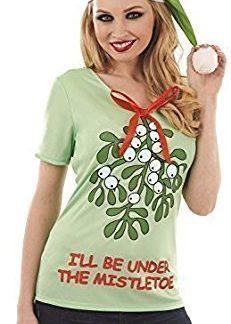 Mens Ladies Rude Mistletoe Christmas Xmas Jumper Fancy Dress Costume Outfit Top