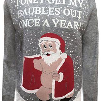 London Knitwear Gallery Christmas Rude Naughty Novelty Jumper Santa Funny Retro