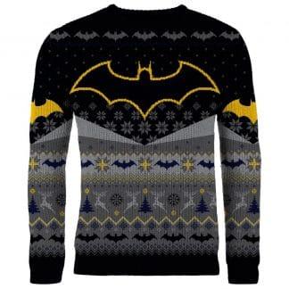 bat santa knitted christmas jumper sweater